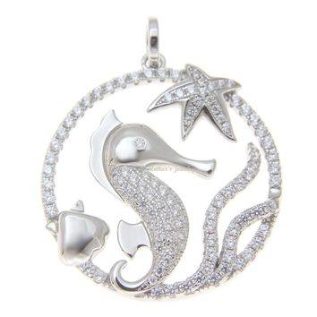 SILVER 925 BLING CZ HAWAIIAN STARFISH SEAHORSE SHELL CIRCLE PENDANT RHODIUM