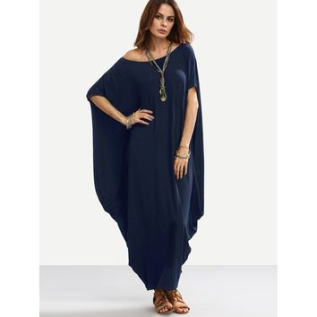 Asymmetric Shoulder Dolman Sleeve Draped Cocoon Dress Navy
