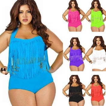 2017 Newest Summer  Plus Size Tassels Bikinis High Waist Sexy Swimsuit Women Bikini Swimwear Padded Fringe Shinny Bathing Suit
