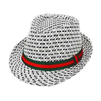 Beatnix Fashions Ribbon Trim Plaid Check Straw Fedora Hat