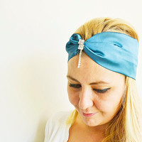 Teal Turban Hairband, Boho Headband, Satin Headband, Headband with Rhinestone for Woman and Girls