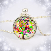 Tree Necklace Flower Leaf Hope Dream Tree Pendant Necklace Glass Cabochon Silver Plated Chain Necklace Romantic Lover Gifts
