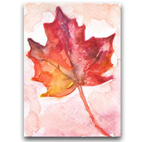 Autumn Leaf ACEO Original Watercolor Painting