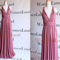 Dark Dusty Rose For Floor Length Infinity Wrapping Convertible Bridesmaids Dresses Full Length Evening Gown Bespoke Plus Size Woman Dress