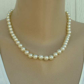 Glass Pearl Necklace 18 inches Double Hand Knotted Vintage Wedding Jewelry