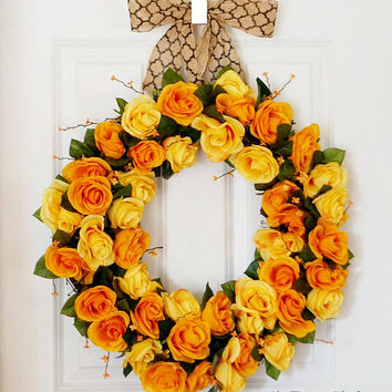 Yellow Rose Wreath, Front Door Wreath, Spring Wreath, Summer Wreath, Yellow Orange, Wedding Wreath, Indoor Wreath
