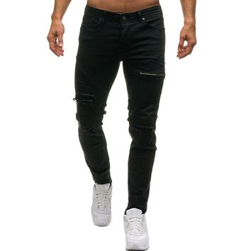 Men's Casual Skinny Stretch Ripped Hole Pencil Pants Denim Ripped Middle Waist Slim Fit Fashion Jeans