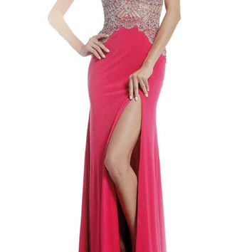 PRIMA 17-8714 Pink Halter Jeweled Sheer Illusion Top Jersey Prom Dress
