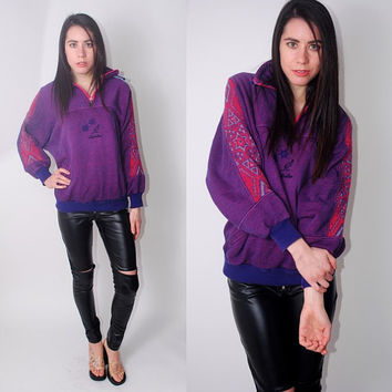Vintage 1990s oversized Purple zip up pull over ethnic tribal KANGAROO color block graphic print long sleeve sweatshirt. XL XXL
