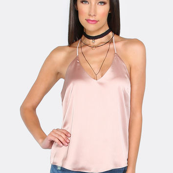 Strappy Satin Slip Top TOFFEE | MakeMeChic.COM