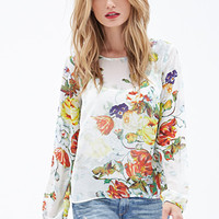 LOVE 21 Watercolor Floral Chiffon Blouse Ivory/Multi