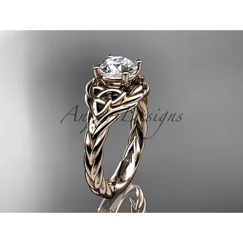 14kt rose gold celtic trinity twisted rope wedding ring RPCT9125