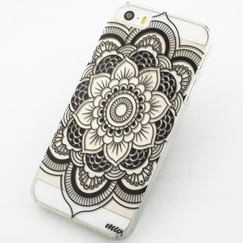 iPhone 5S Case, Wendy's StoresTM Clear Plastic Case Cover for Apple Iphone 5 5S 5G (Henna Full Mandala tribal dream catcher mayan aztec)