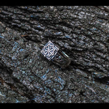 Handcrafted Sterling Silver Ring with Molvinets Symbol Protect Pagan Jewelry