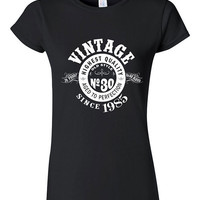 30th Birthday Gift Vintage 1985 Whisky Label T-shirt Tshirt Tee Shirt Son Daughter Dirty Thirty Funny Joke college Aged perfection bday