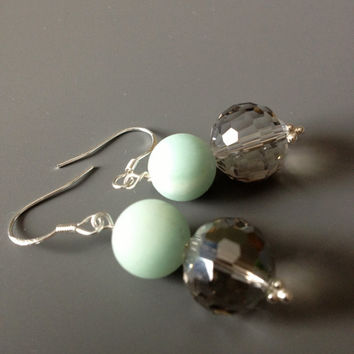 Frosted Mint Green and Crystal Earrings