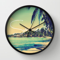 Summer Love Vintage Beach Wall Clock by RexLambo