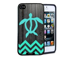 Iphone 5 5S Case Thinshell Case Protective Iphone 5 5S Case Shawnex Teal Hawaiian Turtle Honu On Dark Wood