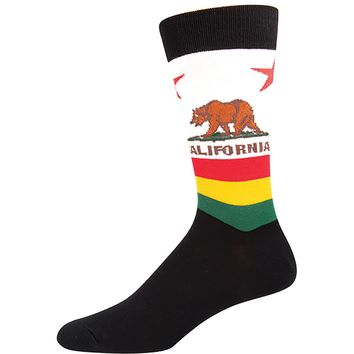 California Rasta Bear Flag Socks - Men's