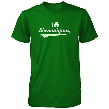 I Clover Shenanigans Funny Saint Patricks Day Unisex Green Graphic Shirts