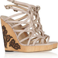 Valentino Lace-appliquéd leather wedges – 65% at THE OUTNET.COM