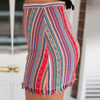 Bohemian Style Striped Printed  and Linen Irregular Tassel Bodycon Mini Skirts