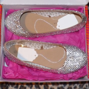 Bedazzled Luxy Ballet Flats In Nude With Crystals