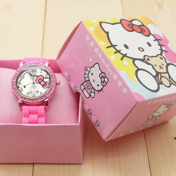 2016 Brand Cartoon Hello Kitty watches Women Silicone Jelly children girls dress Quartz WristWatch kids and box watches