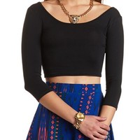 3/4 SLEEVE SOLID CROP TOP
