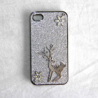 deer in snow protective case for iPhone 5 iPhone 4 4s phone case friendship love bridesmaid gifts winter trending