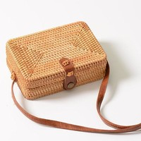 Rattan Straw Rectangle Box Handbag