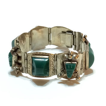 Mexican Sterling Silver Bracelet, Green Onyx Cabochons, Ornate Stamped Sterling, Eagle Hallmark, 1970s, Vintage Jewelry