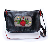 Mini messenger bag, messenger purse, leather bag, leather purse, cross body purse bag, embroidery folk bag, satchel purse bag