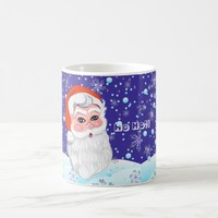 "Cute ""Santa Claus & snowfall"" Merry Christmas Coffee Mug"