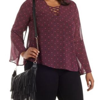 Plus Size Caged Bell Sleeve Printed Chiffon Top