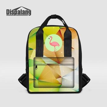 Cool Backpack school Dispalang High Quality Backpacks for Women Cool Student Square School Bag Flamingo Prints Ladies Laptop Backpack Travel Rucksack AT_52_3