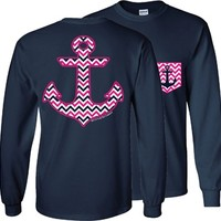 Chevron Anchor w/ Faux Pocket LONGSLEEVE on Navy
