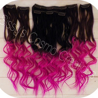 "ONE PIECE 12"" Pink Passion Ombre Dip Dye Clip In Human Hair Extensions Sample"