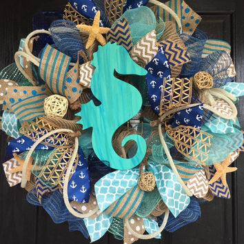 Summer deco mesh wreath,burlap nautical wreath, seahorse wreath, seahorse mesh wreath, beach wreath,front door beach wreath, nautical wreath
