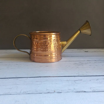 Copper and Brass Watering Can/ Vintage Copper Watering Can/ Small Watering Can/ Hammered Copper Watering Can/ Vintage Copper Garden