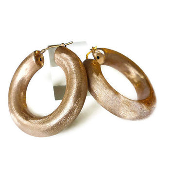 Milor Italy, Hoop Earrings, Rose Gold, Sterling Silver, Large Puffy, Statement Jewelry, High End, Runway Couture, Vintage Jewellery