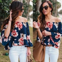 Women Sexy Off Shoulder Blouse Fashion Casual Ruffle Sleeve Tube Tops Beach T Shirt New