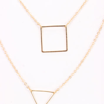 Gold High Polish Thin Chain Shape Accent Layered Necklace
