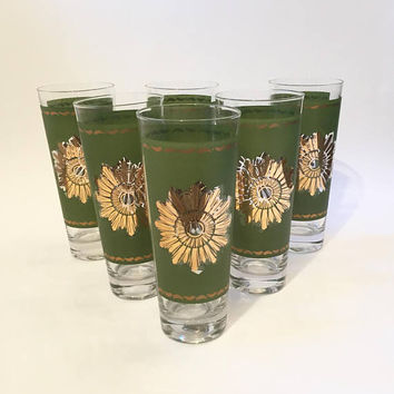 Green and Gold Atomic Sunburst Tumblers,Hi Ball Glasses, Mod Drinking Glasses Gold Starburst, Mid Century Tumblers Set of 6