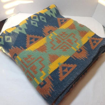 1960s Cotton Woven Southwestern Blanket in Blue, Green, Yellow, Orange, 66 x 68 Inches, 1960s Home Decor, Vintage Woven Blanket, Mexican