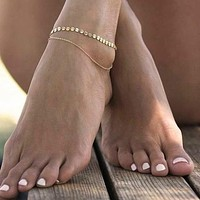 Coin Chain Layered Anklet