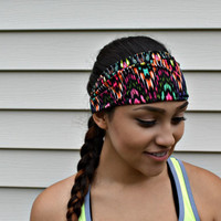 Colorful Stretch headband, workout head wrap