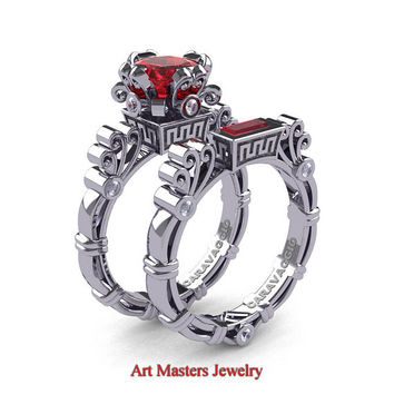 Sacrament of Beauty - Art Masters Caravaggio 14K White Gold 1.5 Ct Princess Ruby Diamond Engagement Ring Wedding Band Set R627S-14KWGDR
