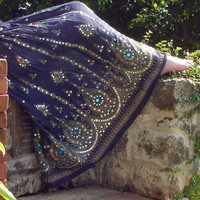Gypsy Skirt: Long Midnight Dark Navy Blue Indian Boho Bohemian Crinkle Peasant Maxi Skirt Sequined Cover Up