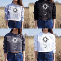 Pullover Sun Moon Print Long Sleeve Short Sweatshirt